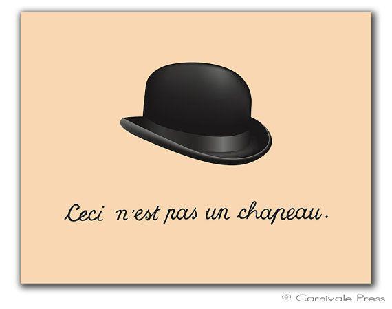 Ceci n'est pas un chapeau. This is not a hat. por CarnivalePress, $18.00