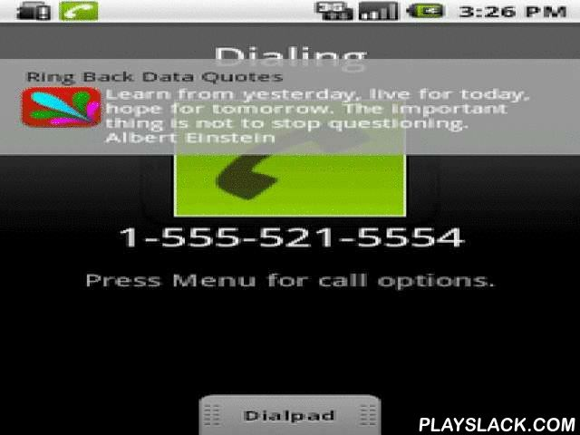 Ring Back Tone Data RBT Music  Android App - playslack.com , This is the FREE version! Still listening to old boring TRING TRING, Switch to Ring Back Data!It is an equivalent of popular Ring Back Tone Service in the data world. A user can enjoy the service both while making a call and while receiving a call. Whenever one makes or receives a call, a user generally has some time available after the calling number is dialled or while the incoming call has just arrived. App utilizes this time…