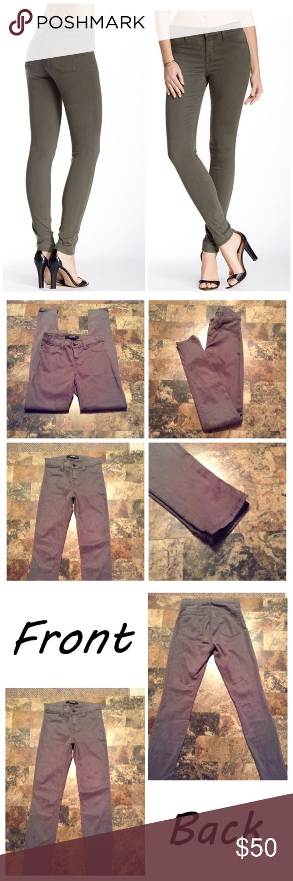 """J Brand Super Skinny Jeans First pic of model wearing this style of skinny. Last 3 pics are of actual item/color. Waist 25. 2 back pockets. Faux front pockets. 64% Lyocell & 34% cotton & 2% Elastane. Stretches. Armour color. Rise is """"9.5 Mid-rise. Laying flat """"12.5. Length """"39. Leg Opening """"4.5. Inseam """"30. This item is not new, It is used & in Good condition, Authentic & from a Smoke And Pet free home. All Offers thru the offer button ONLY. I Will not negotiate Price in the comment section…"""