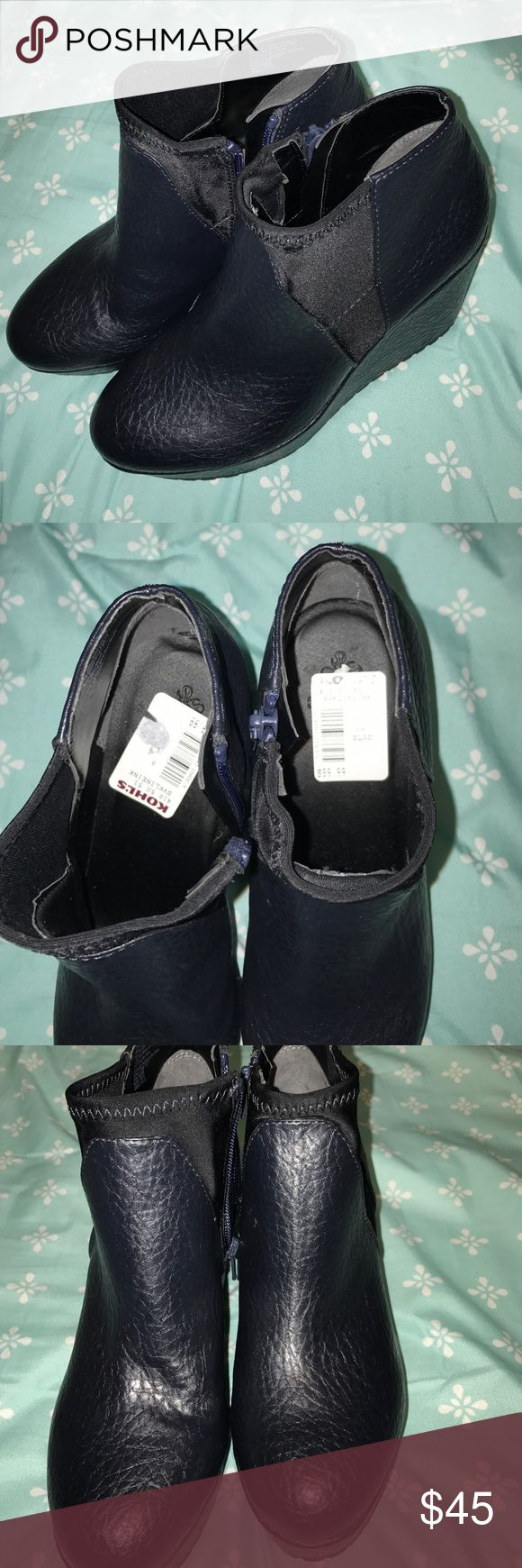 Black wedge ankle booties Brand New! Only tried on, tags still inside the shoe. Very comfortable unknown Shoes Ankle Boots & Booties