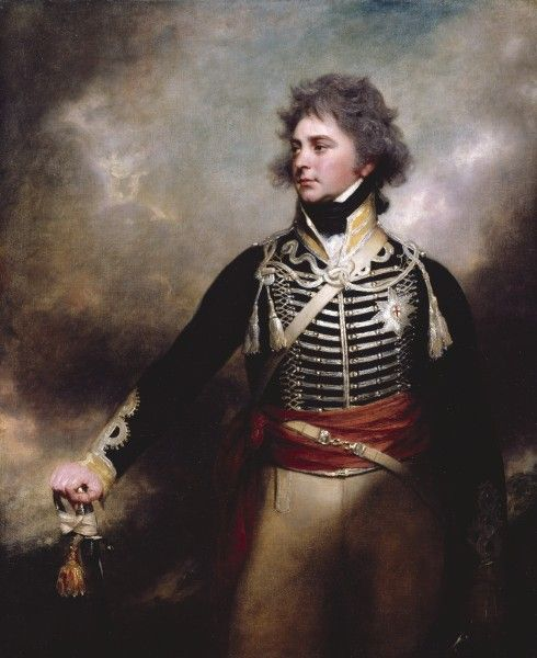 The Prince of Wales (later George IV). Wearing his Dragoons uniform if I'm not mistaken.