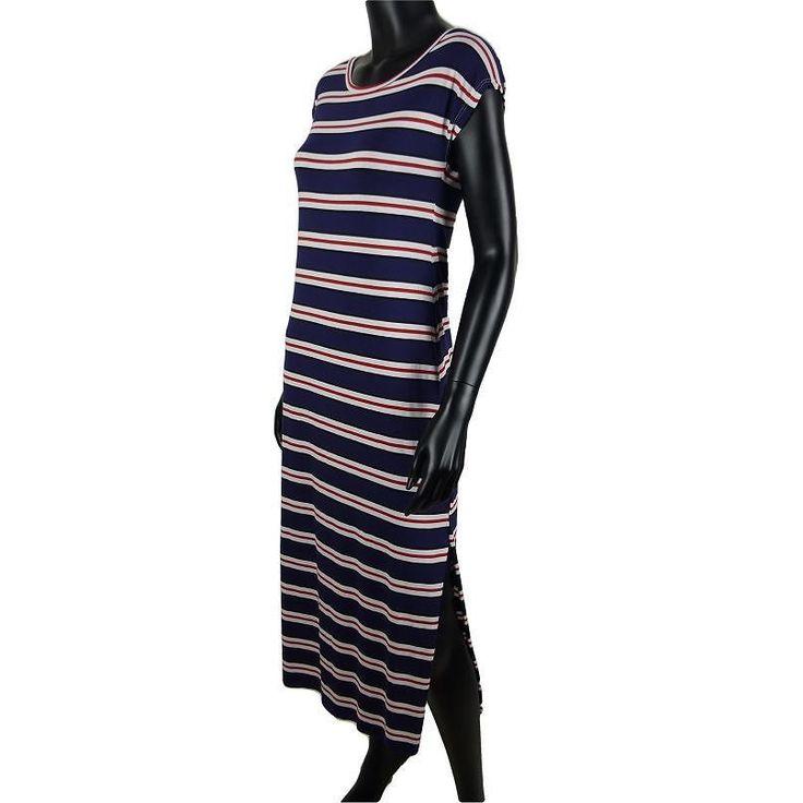Gestreepte maxi jurk met split in marine blauw  15-  #Beverwijk #Heemskerk #IJmuiden #Velsen #fashion #happy #follow #cute #followme #like #instacool #nofilter #style #sweet #fashionable #hot  #webshop #fashioncheque #vvv #nieuwecollectie