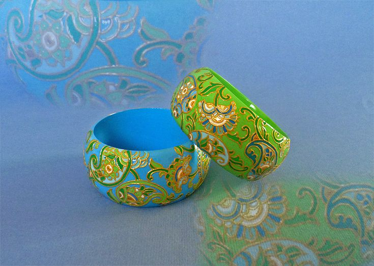 hand-painted wooden bracelets Paisley