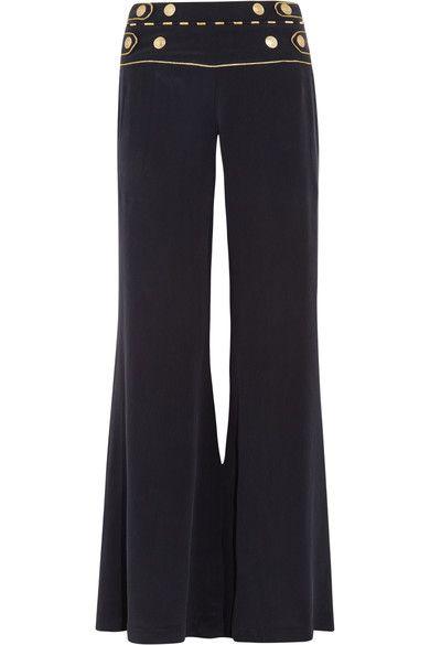 Pierre Balmain - Washed-silk Wide-leg Pants - Navy - FR34