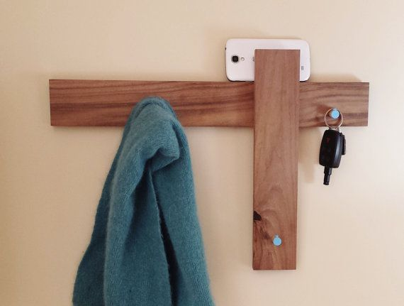 Clothing Rack Coat Hooks or Mail Holder in Mid Century Modern Furniture Style with Blue Hooks