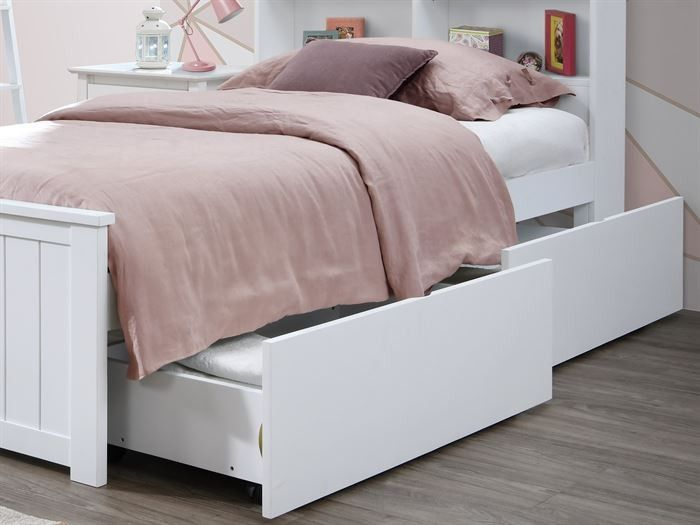 Myer White King Single Bed With Under Bed Drawers Built In