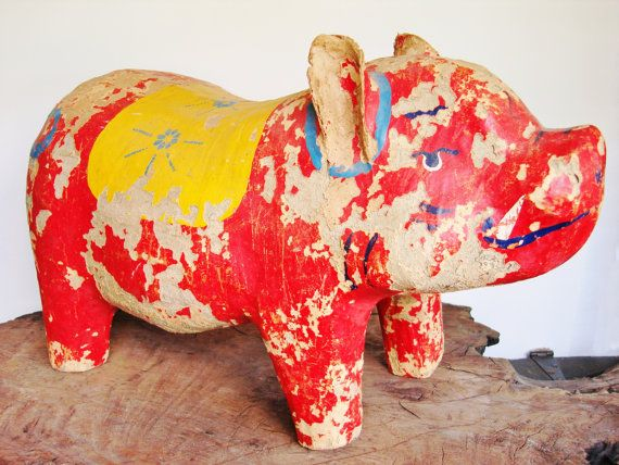 Large Vintage Mexican Folk Art Pig - Paper Mache Painted with Mexican Design - Piggy Bank - Eclectic Home Decor - 20 Inches