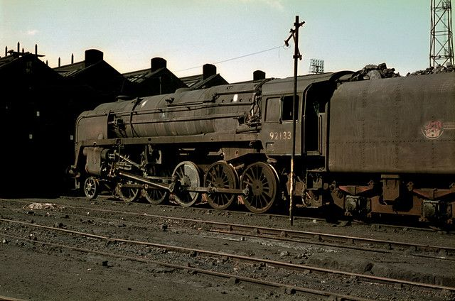 https://flic.kr/p/79ixM7 | 92133 on Shed | A grimy 9F 2-10-0 92133 sits on 9B Stockport Edgeley sometime in the mid sixties, plenty of grime, loads of atmosphere