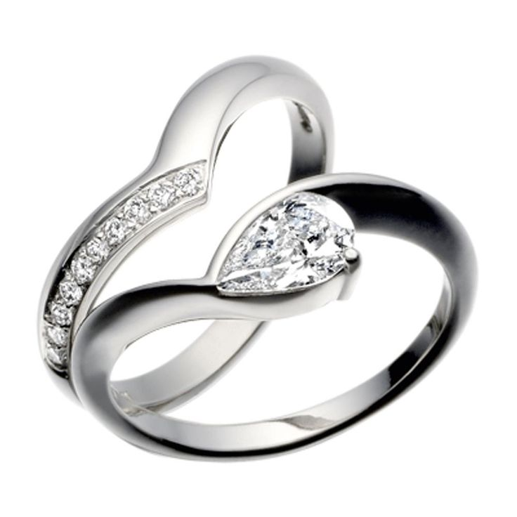 Something quite unique about pear shaped diamonds! See http://www.whartongoldsmith.com/rings-c3/christopher-wharton-platinum-pear-shaped-diamond-engagement-ring-and-fitted-diamond-set-wedding-band-design-no-1v59a-p23