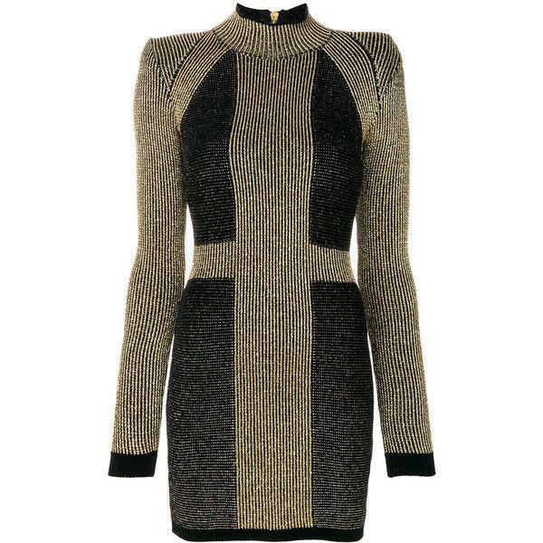 Balmain stretch knit mini dress ($1,924) ❤ liked on Polyvore featuring dresses, grey, long sleeve short dress, embellished dress, long sleeve turtleneck, long-sleeve turtleneck dresses and grey turtleneck