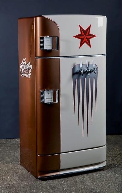 """""""We don't need more things - we need to make better use of the things we have.""""    Presenting our new kegerator for the Sixpoint staff - a once beat-up and forgotten 1956 GE Hotpoint fridge. May it flow with fresh beer for many years."""