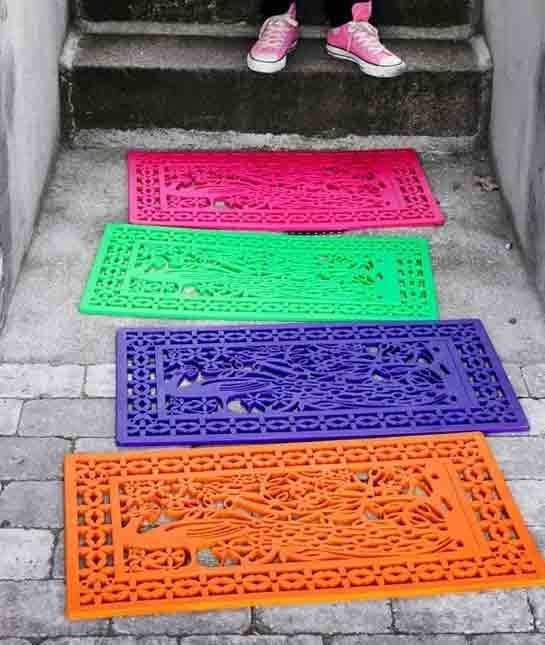 RUBBER MAT DECOR Spruce Up Your Patio With Rubber Mats Spray Painted In  Bright Colors.