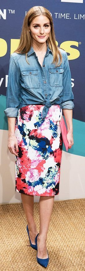 Olivia Palermo Floral Print Pencil Skirt-Street Chic