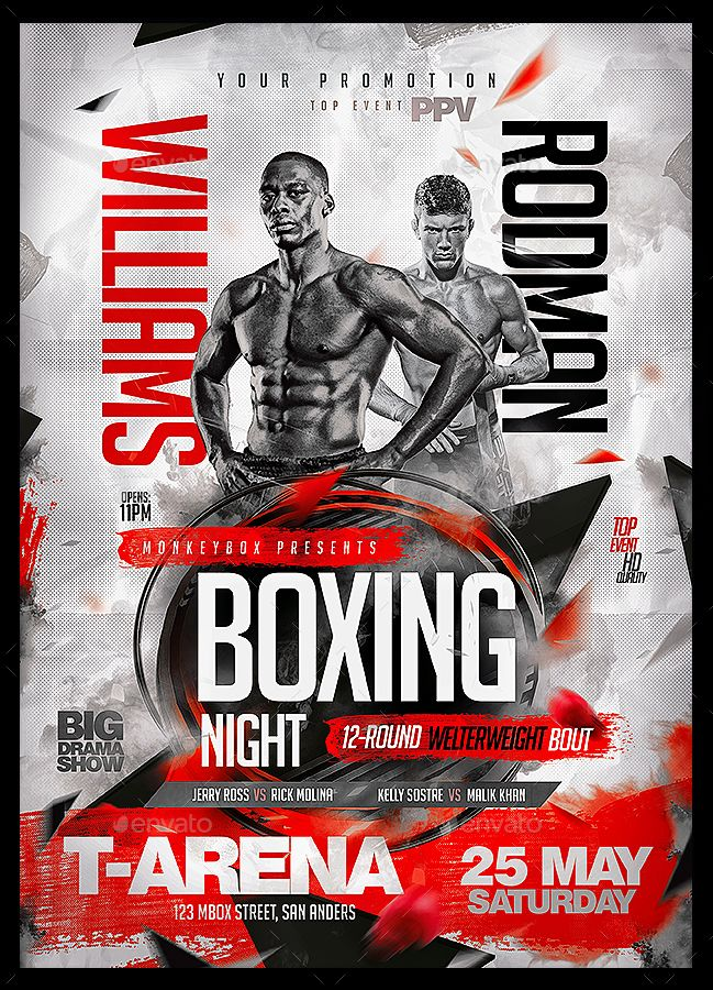 Boxing Flyers Bundle Vol 1 Boxing Posters Modern Business Cards