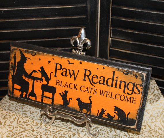 Halloween Sign/Paw Readings Sign/ Black Cat/Orange Black/Ready to Ship on Etsy, $15.95