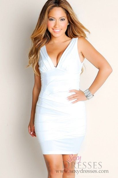 Potential Birthday Dress: All White American Honey Sleeveless Solid Color Bandage Plunge Neckline Club Dress