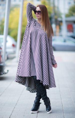 Платье из шерсти. Платье с длинным рукавом. Платье свободного кроя. Платье в клетку. Модное платье. Модная одежда для полных жехщин.