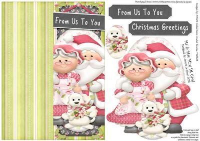 Mr Mrs Christmas Mini DL Cut n Fold Over The Edge Card on Craftsuprint - Add To Basket!