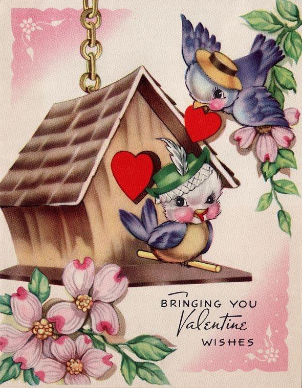 vintage valentine - 2 bluebirds