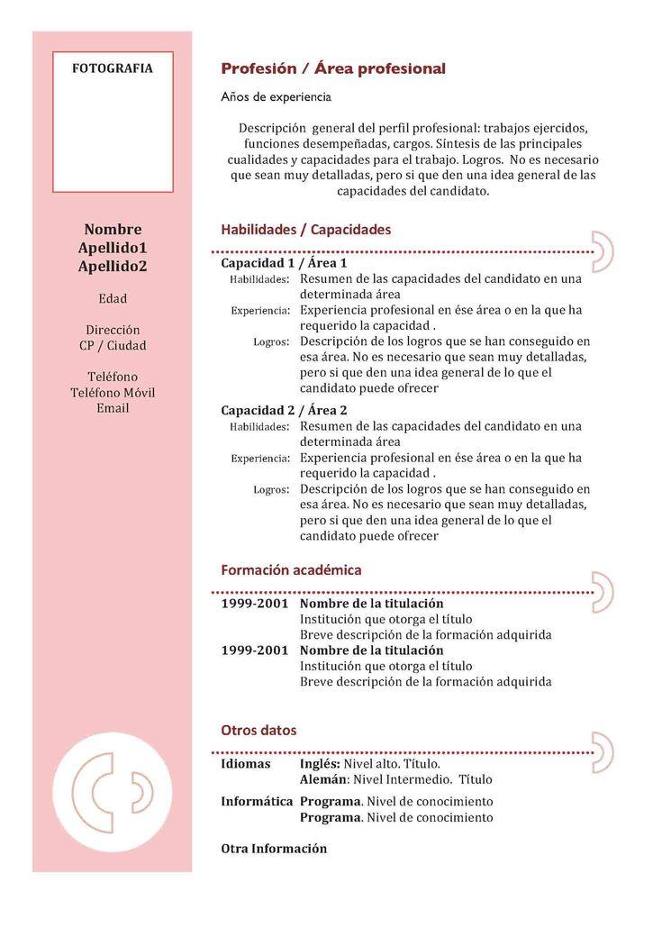 Elabora Tu Curriculum Vitae Con Todas Estas Indicaciones Y Modelos. Te  Mostramos Como Hacer Un Currículum Perfecto Para Enviar A Empresas O  Portales De ...  Formato De Resume