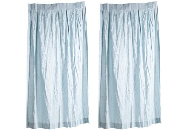 Light Blue Cotton/Linen Curtains, Pair