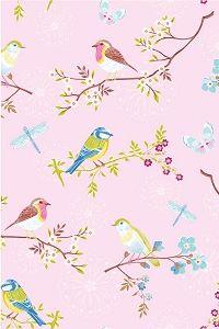 Pip roze #behang met vogels op takken