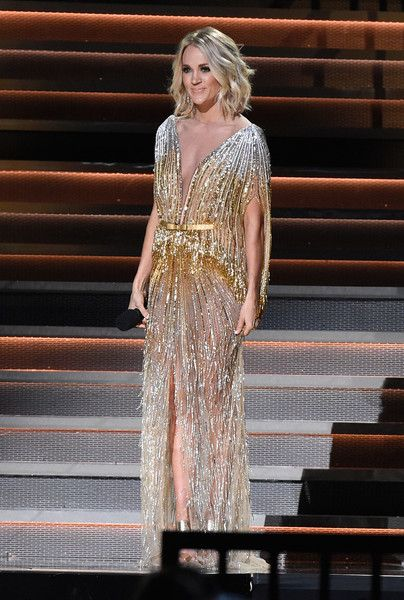Co-host Carrie Underwood speaks onstage at the 50th annual CMA Awards at the Bridgestone Arena on November 2, 2016 in Nashville, Tennessee.