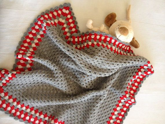 Grey Bamboo Granny Square Afghan Baby Blanket 30'x30' by allapples, $60.00