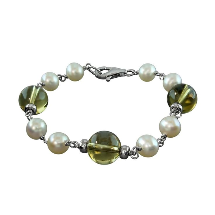 Sterling Silver Freshwater Cultured Pearl and Lemon Quartz Bracelet, Women's, Grey