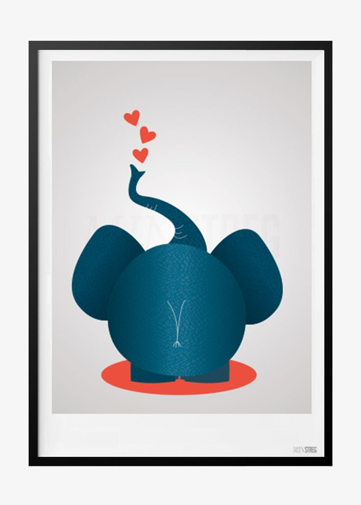 Plakat til børneværelset med hjerte elefant bagfra. Plakaten fås i flere størrelser og koster fra 39,- Perfekt som en anderledes gave!