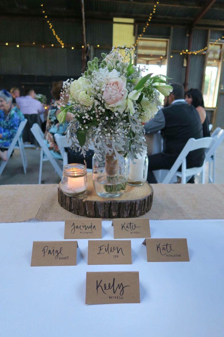Place cards and center pieces