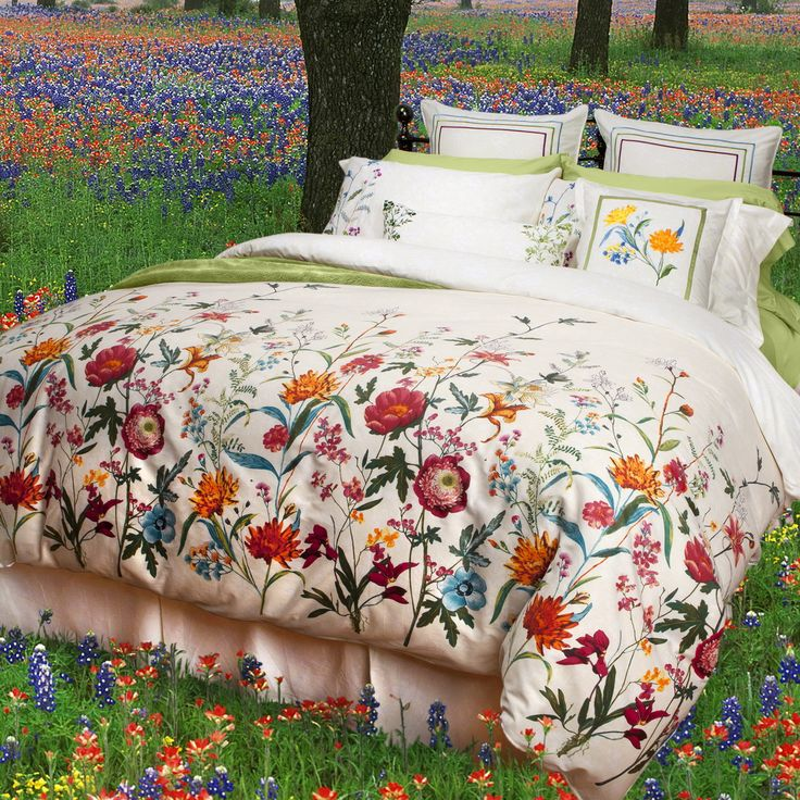 Flourish Collection: Sleeping with the Flourish collection is like relaxing in the middle of a late summer meadow. Gorgeous handpainted wildflower blooms of wild roses, lilies and corn flowers stretch up to the sky over a subtle ivory and white floral background.