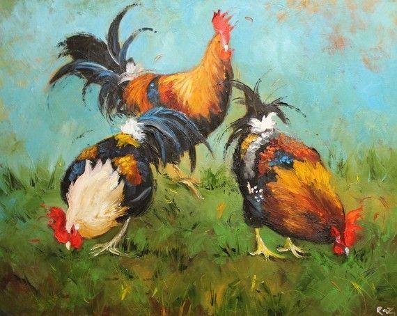Impresión 16 x 20 de pintura al óleo de gallo 430 por por RozArt