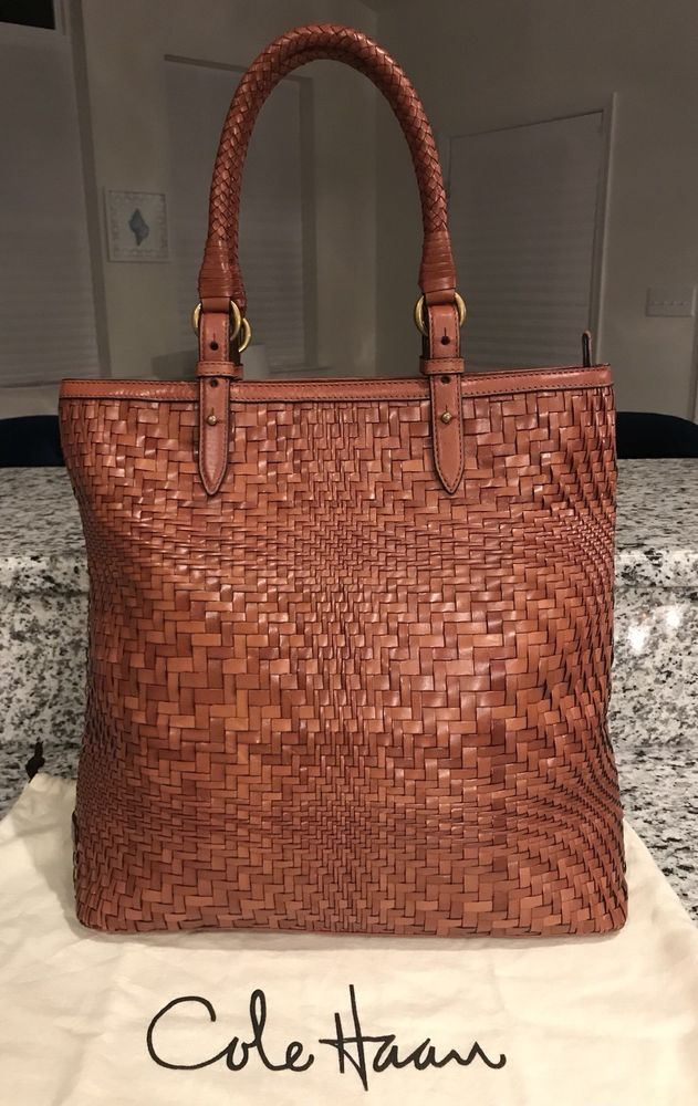 dc1b299eadb8 Cole Haan Genevieve Woven Leather Weave Saddle Tote Shoulder Hand Bag Purse  EUC!  ColeHaan  Tote GORGEOUS SADDLE BROWN!!! RARE!!! SALE!!! WOW!!!