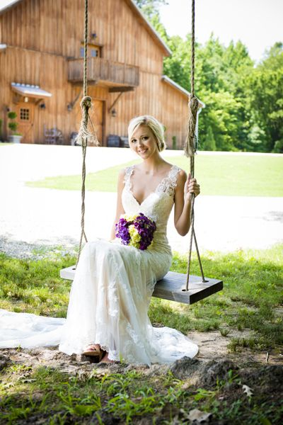Oh my! We're loving this image of a gorgeous bride taking a moment for herself on a tree swing! Such a quaint and lovely wedding image! Click the image for more information about 3Eight Photography.
