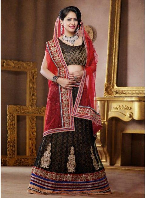 Dazzling Diva Black color Net Based #Lehenga Choli