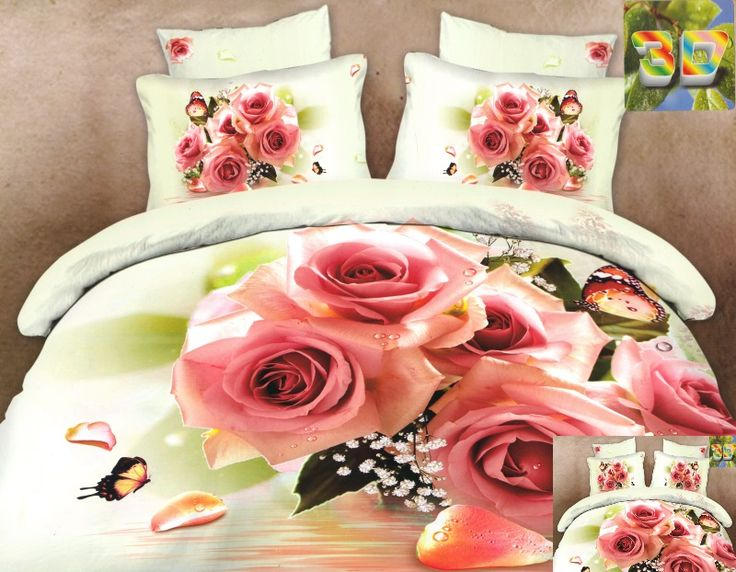 Pościel z bawełny w kolorze białym w pudrowo różowe róże