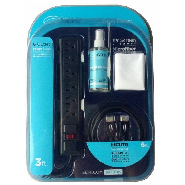 Seiki SK100K Kit withMicrofiber Cloth3oz.TV Cleaner3 in-6 Outlet Surge Protector6 inHDMI