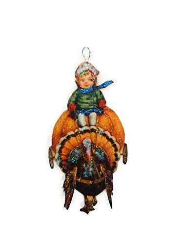 Thanksgiving day decor shop 170 pinterest thanksgiving turkey ornament decoration boy riding pumpkin cart thanksgiving thanksgivingday turkey negle Gallery