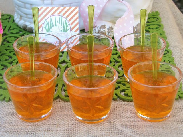Orange Jello Cups ~ simply insert a small green spoon to resemble carrots