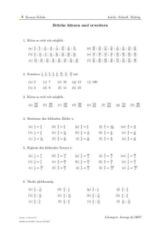 Brüche kürzen und erweitern | Aufgaben mit Lösungen und Videoerklärungen | binomische Formel #ausklammern #doppeltes #Lösungsmenge bestimmen #linear #umstellen