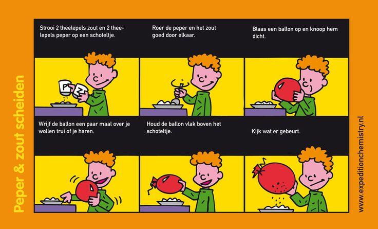 Peper en zout scheiden, leuk proefje voor kinderen op de basisschool!