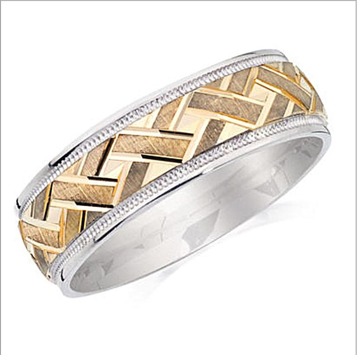 White And Yellow Gold Mens Rings