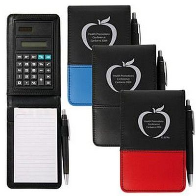PVC Promo Notepad w/Calculator and Pen Min 100 - Promotional Giveaways - Custom Notepads - GO-85761s - Best Value Promotional items including Promotional Merchandise, Printed T shirts, Promotional Mugs, Promotional Clothing and Corporate Gifts from PROMOSXCHAGE - Melbourne, Sydney, Brisbane - Call 1800 PROMOS (776 667)
