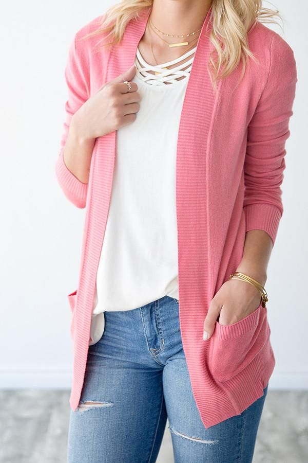 OPEN FRONT CARDIGAN WITH POCKETS | ROSE | ONLINE WOMEN'S FASHION | ONLINE BOUTIQUE These cardigans are a must and you need one in every color! They can be paired with any of our tanks or just worn alone with your favorite jeans! Roll up the sleeves for a Spring/Summer look or wear it down when the weather gets cooler. The open front detail makes this cardigan our favorite