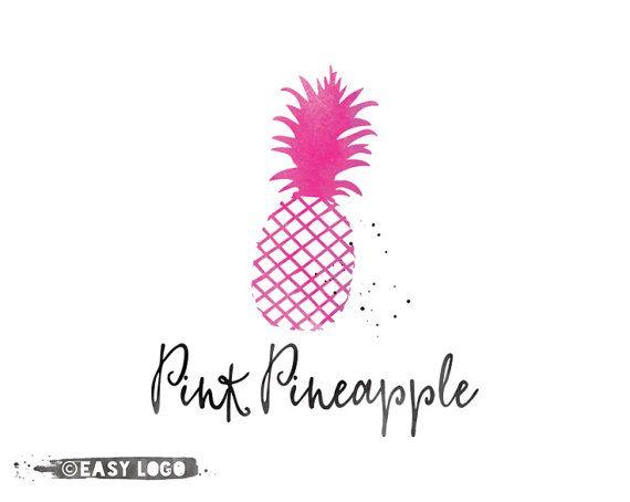Pink Pineapple Logo. Premade Boutique Logo. Custom Watercolor Logo. Modern Logo Design. Simple Business Branding Kit. EL300.
