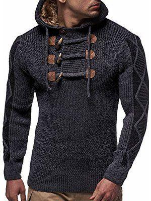 Suéter de punto de BALANDI hombre para hombre (negro, L)