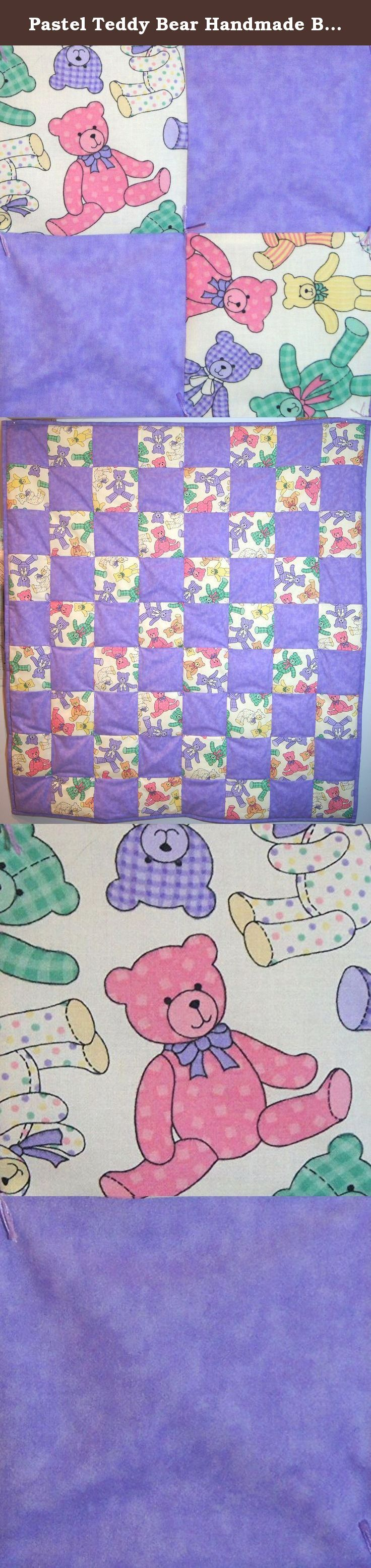 """Pastel Teddy Bear Handmade Baby Girl Quilt. This handmade baby girl quilt is made with a precious pastel teddy bear print and a matching lavender fabric. The backing is a soft white muslin, an extra loft polyester batting was used and the ties are lavender. It measures a generous size of approx. 36"""" x 40"""" inches. It comes pre-washed, super soft and ready for snuggling. Care includes machine wash on delicate, tumble dry low heat."""