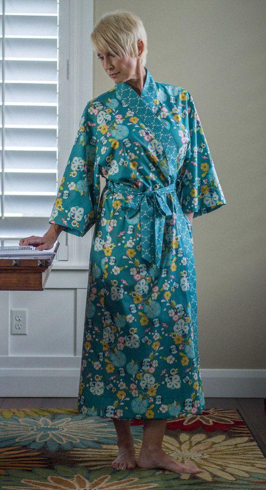 Kimono Robe Plus sizes Bath Robe Long Womens robe Kimono style robe Hospital Gown Ladies size Dressing gown Floral Cotton Yukata EG Teal