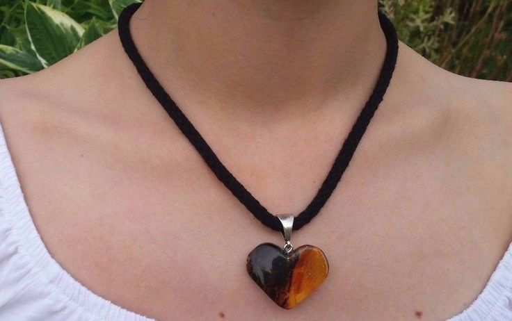 Baltic Amber Heart Pendant with black cord #Unbranded